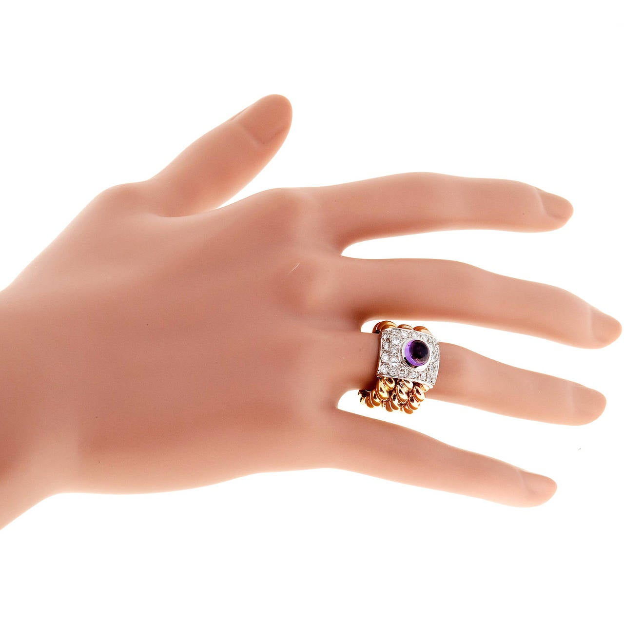 Amethyst Cabochon Diamond Three Color Gold Cocktail Ring For Sale 3