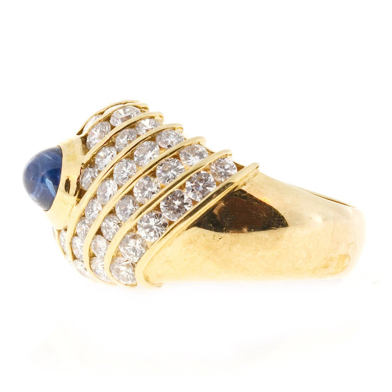 Women's Sapphire Cabochon Diamond Gold Dome Ring For Sale