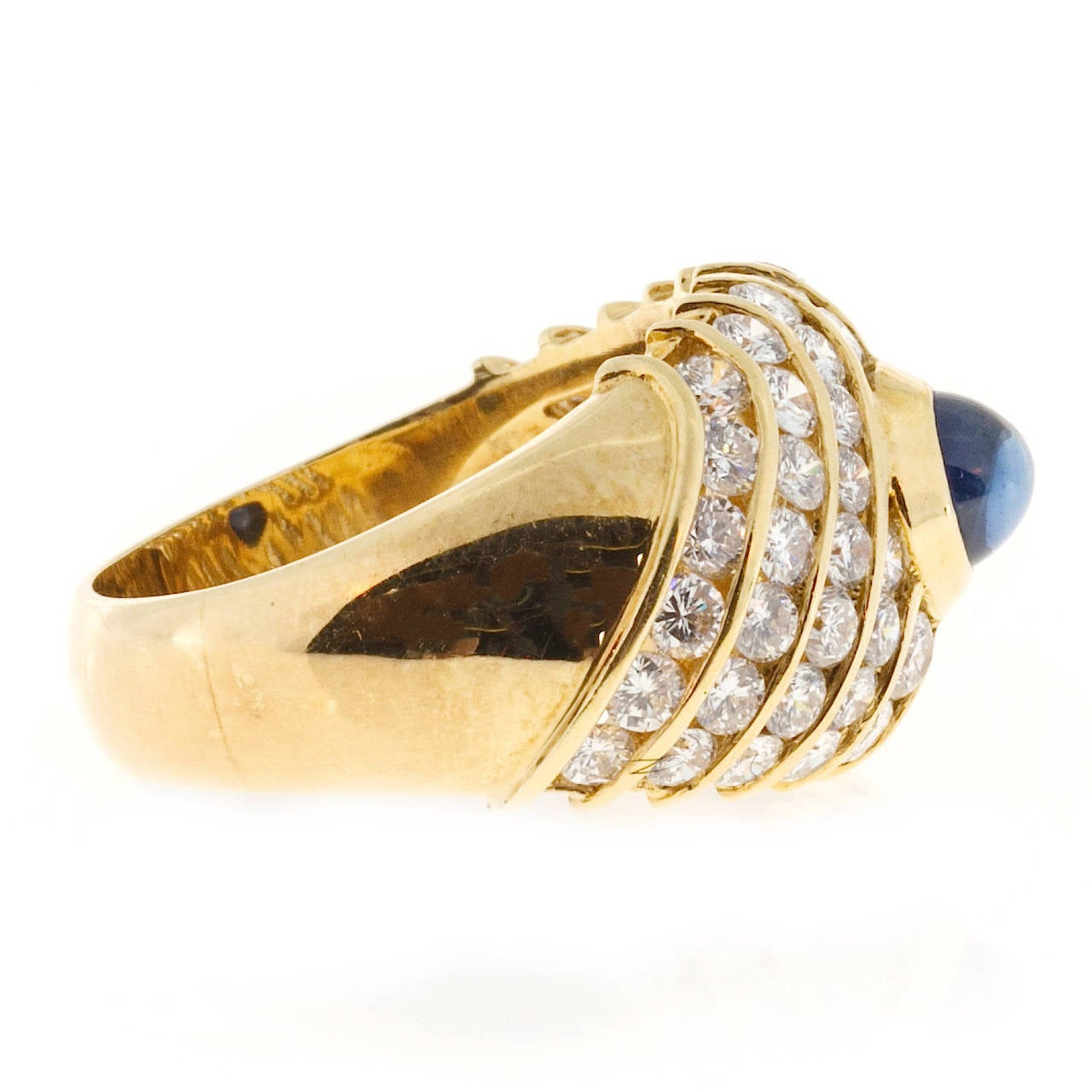 Sapphire Cabochon Diamond Gold Dome Ring For Sale 2