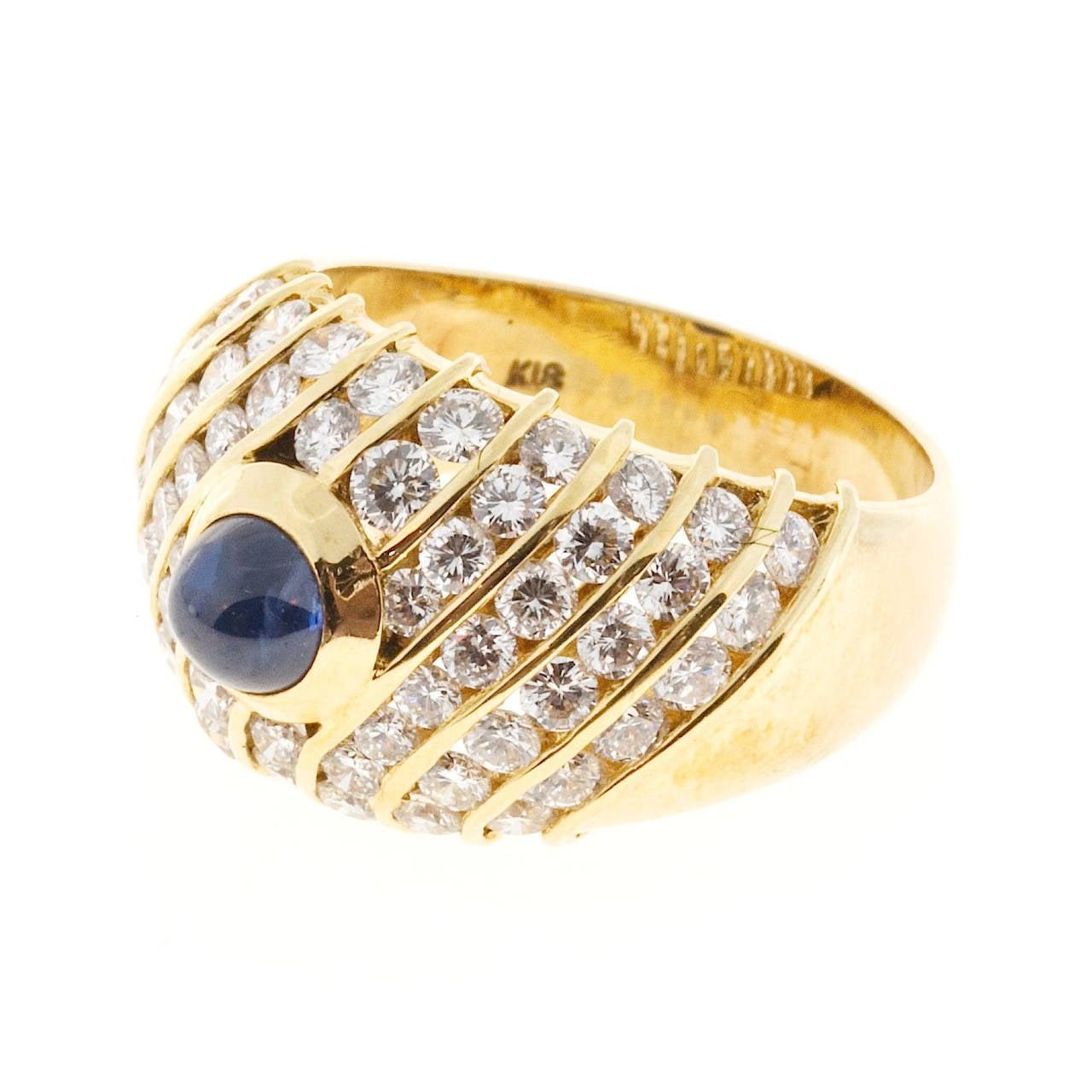 Sapphire Cabochon Diamond Gold Dome Ring For Sale 1