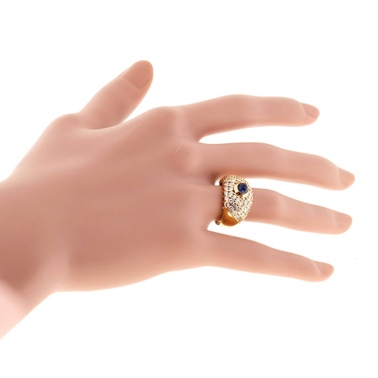 Sapphire Cabochon Diamond Gold Dome Ring For Sale 3