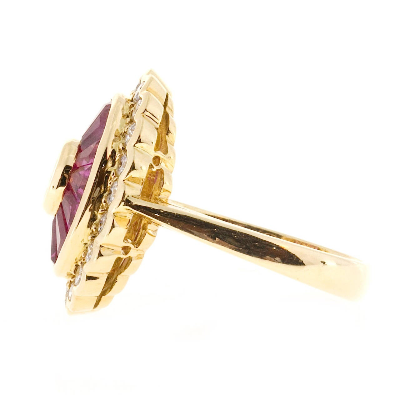 Baguette Cut Diamond Baguette Ruby Gold Cocktail Ring For Sale