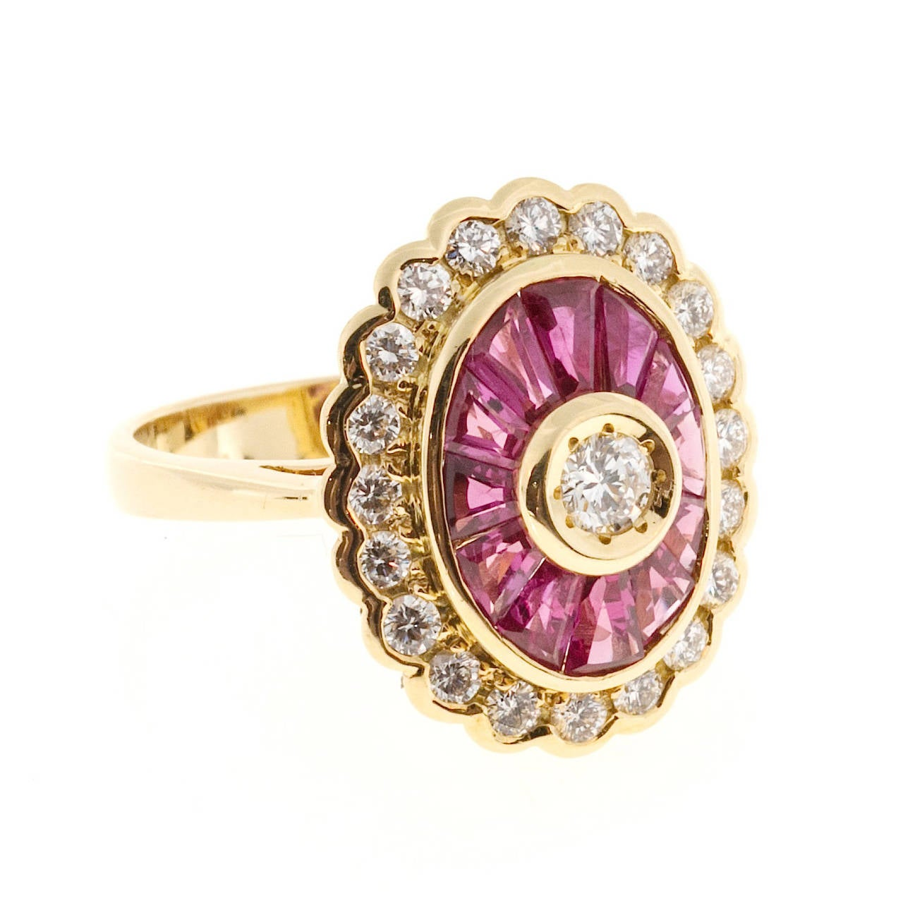 Diamond Baguette Ruby Gold Cocktail Ring For Sale 1