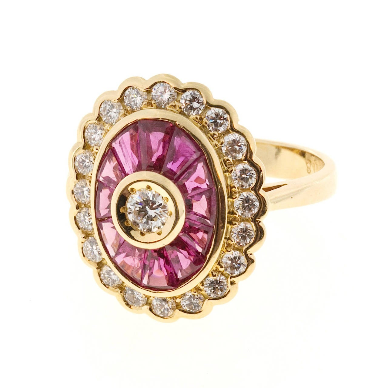 Diamond Baguette Ruby Gold Cocktail Ring For Sale