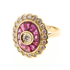 Diamond Baguette Ruby Gold Cocktail Ring