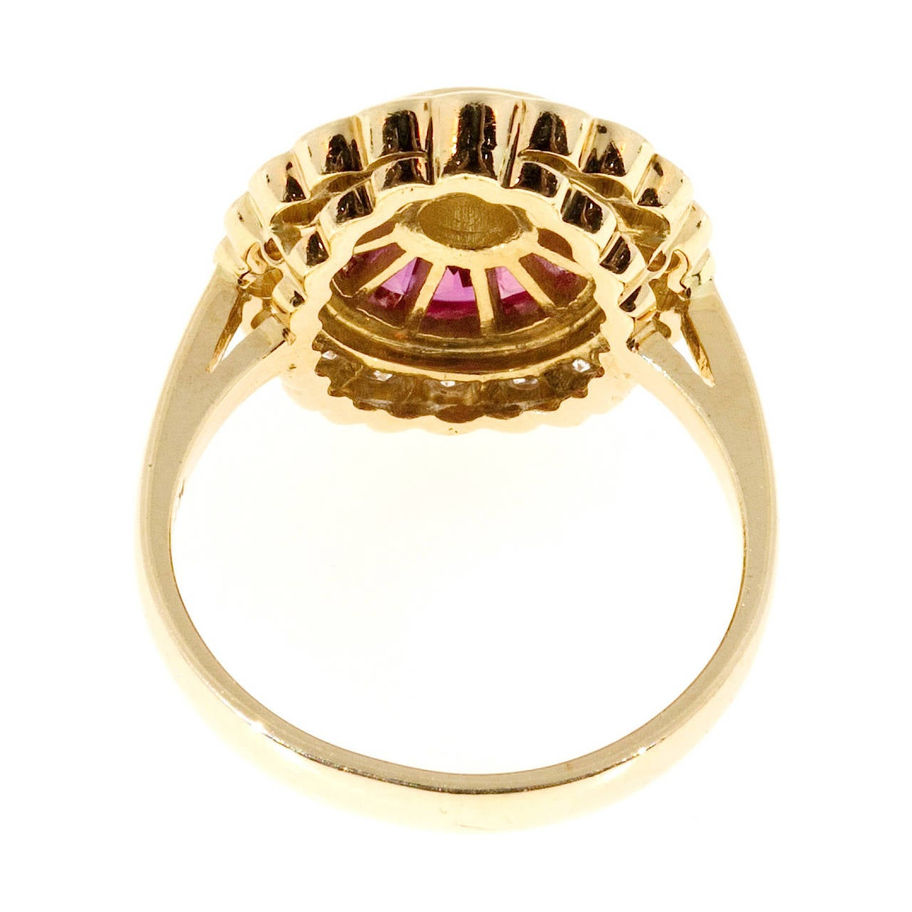 Diamond Baguette Ruby Gold Cocktail Ring For Sale 2