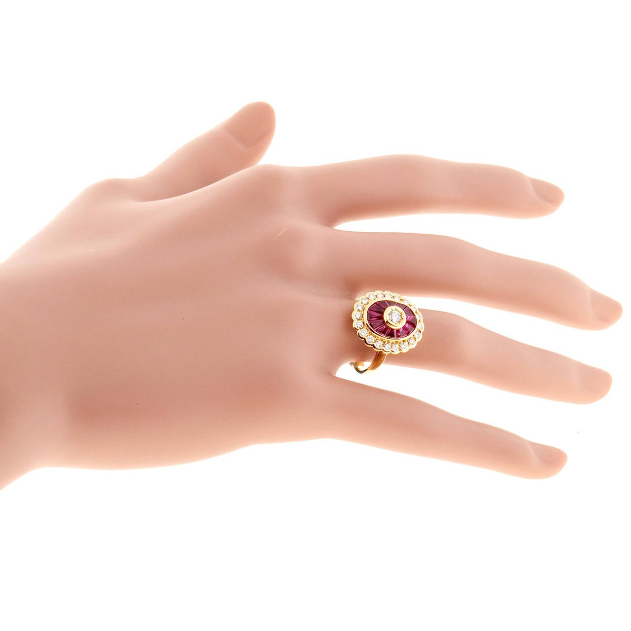 Women's Diamond Baguette Ruby Gold Cocktail Ring For Sale