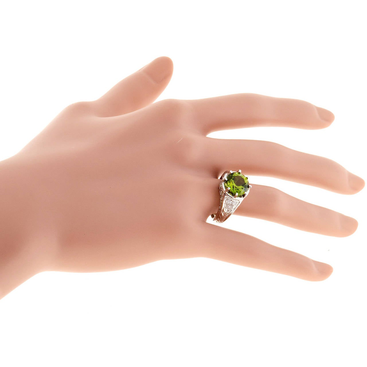 Peridot Diamond Platinum Filigree Ring For Sale 2