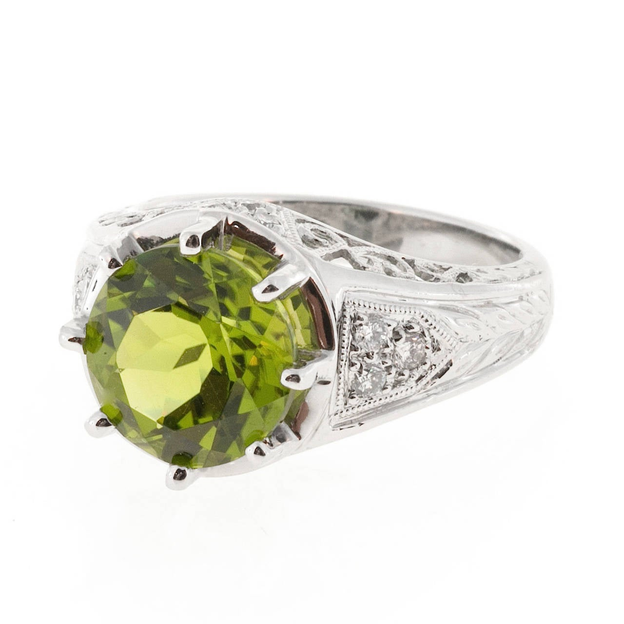 Peridot Diamond Platinum Filigree Ring For Sale