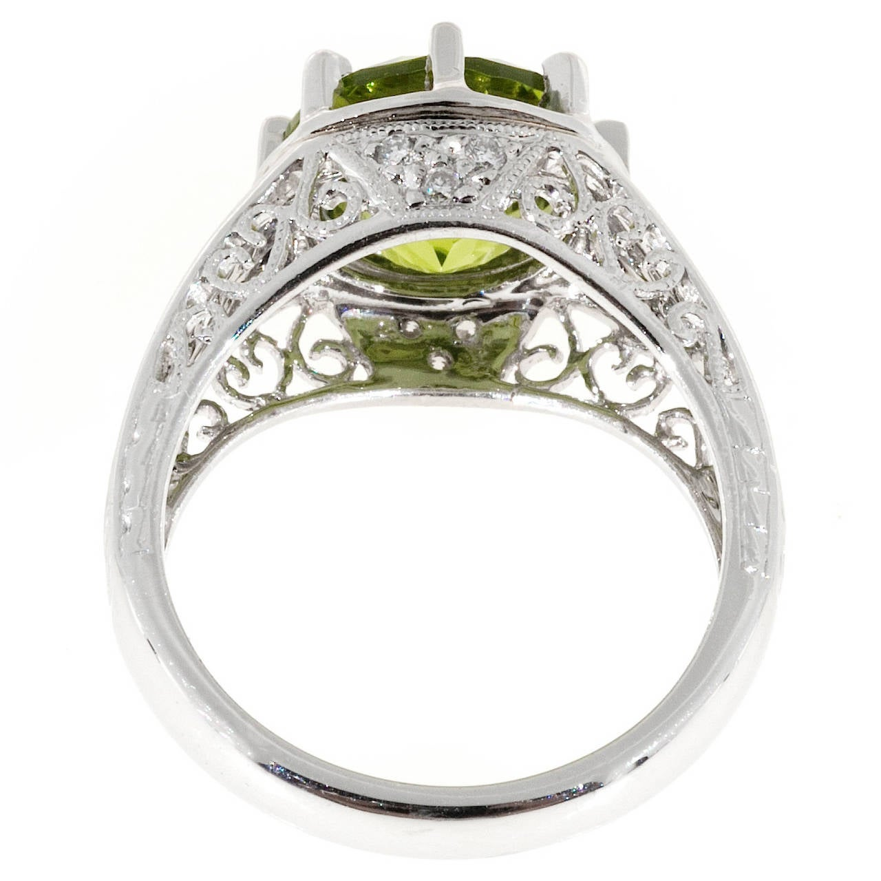 Peridot Diamond Platinum Filigree Ring For Sale 1