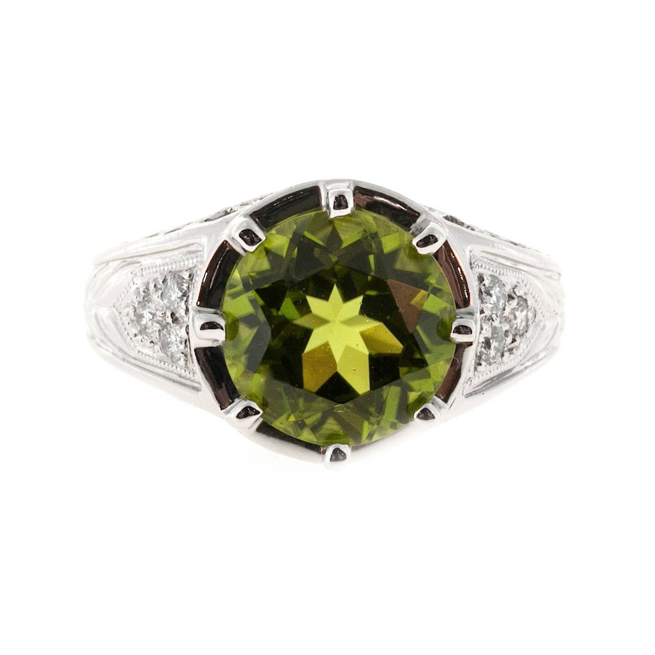 Old European Cut Peridot Diamond Platinum Filigree Ring For Sale