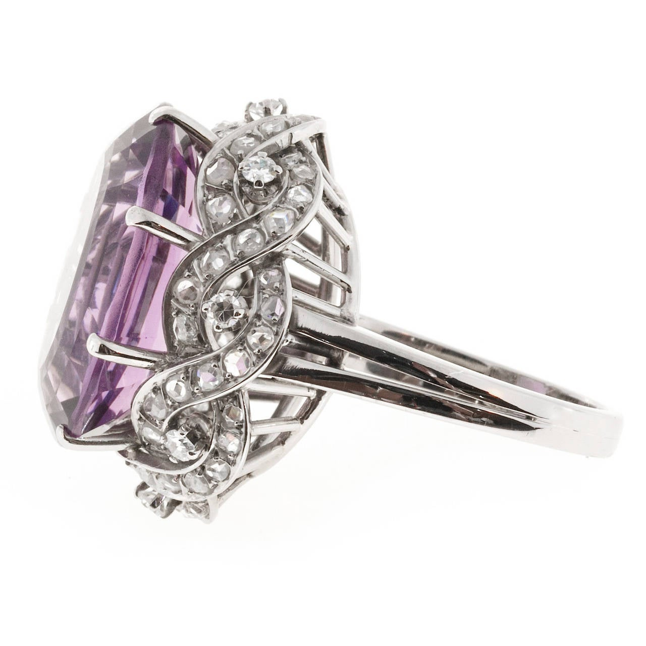 Women's Natural Amethyst Diamond Gold Cocktail Ring For Sale