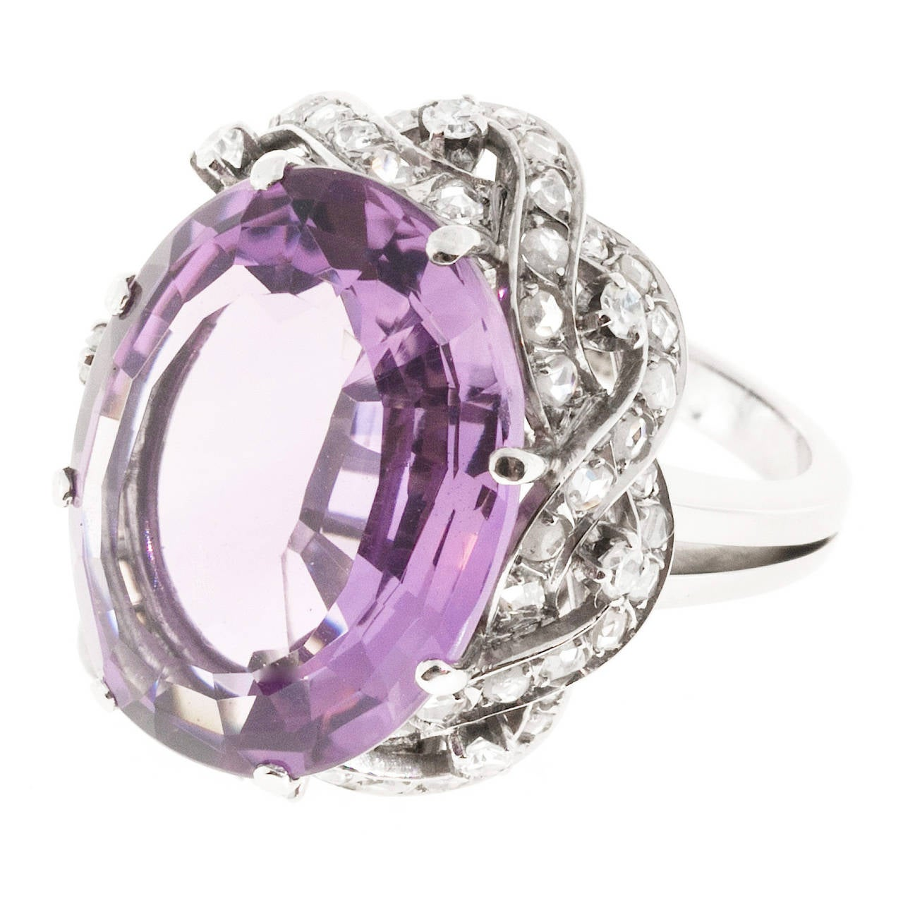 Natural Amethyst Diamond Gold Cocktail Ring For Sale 1