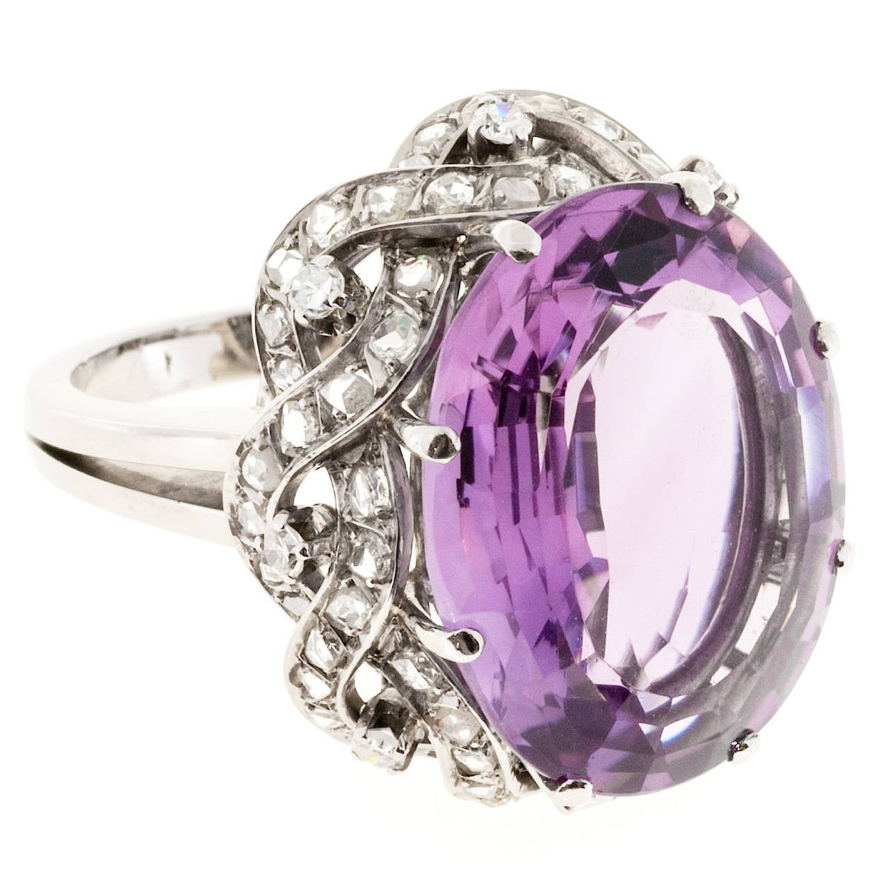 Natural Amethyst Diamond Gold Cocktail Ring