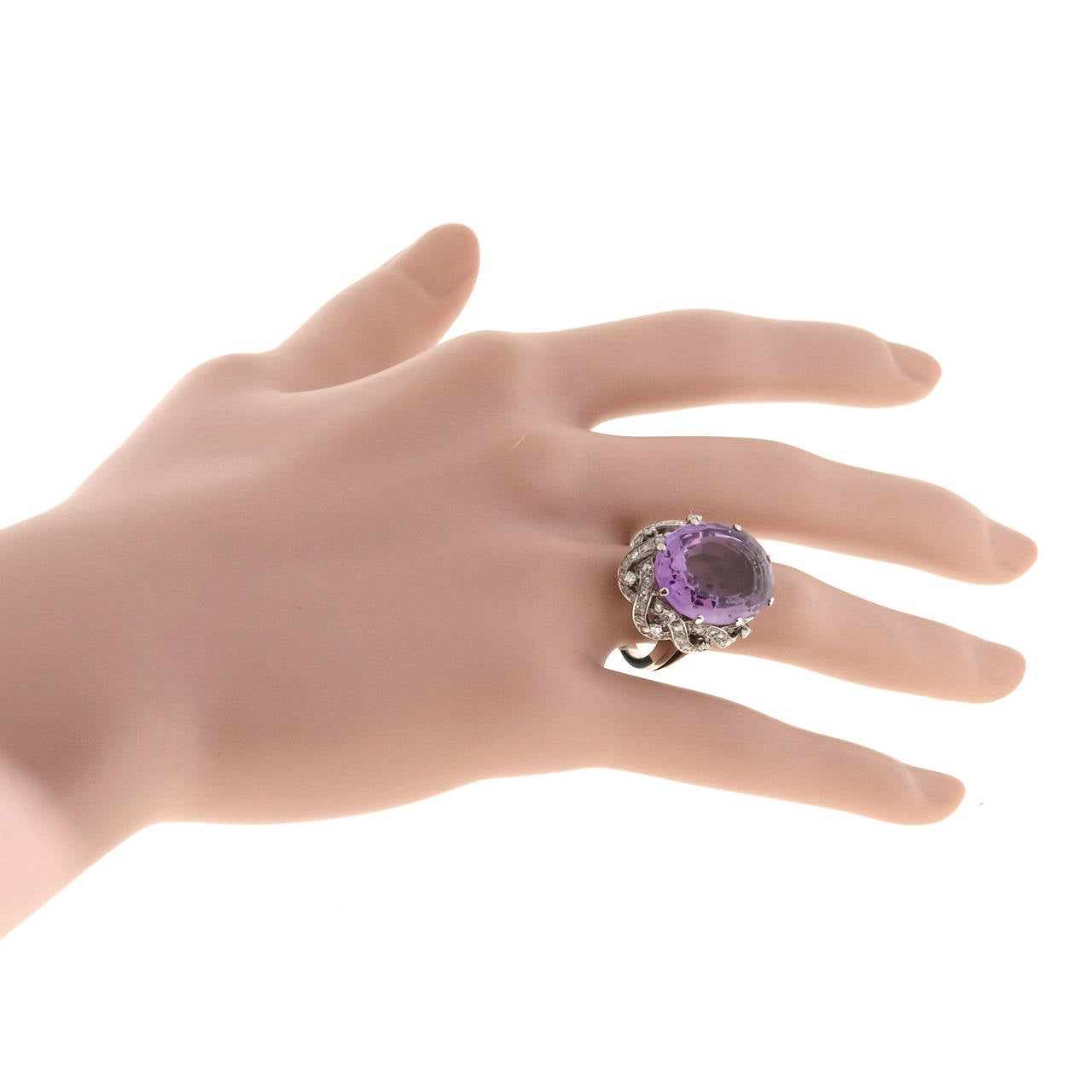 Rose Cut Natural Amethyst Diamond Gold Cocktail Ring For Sale