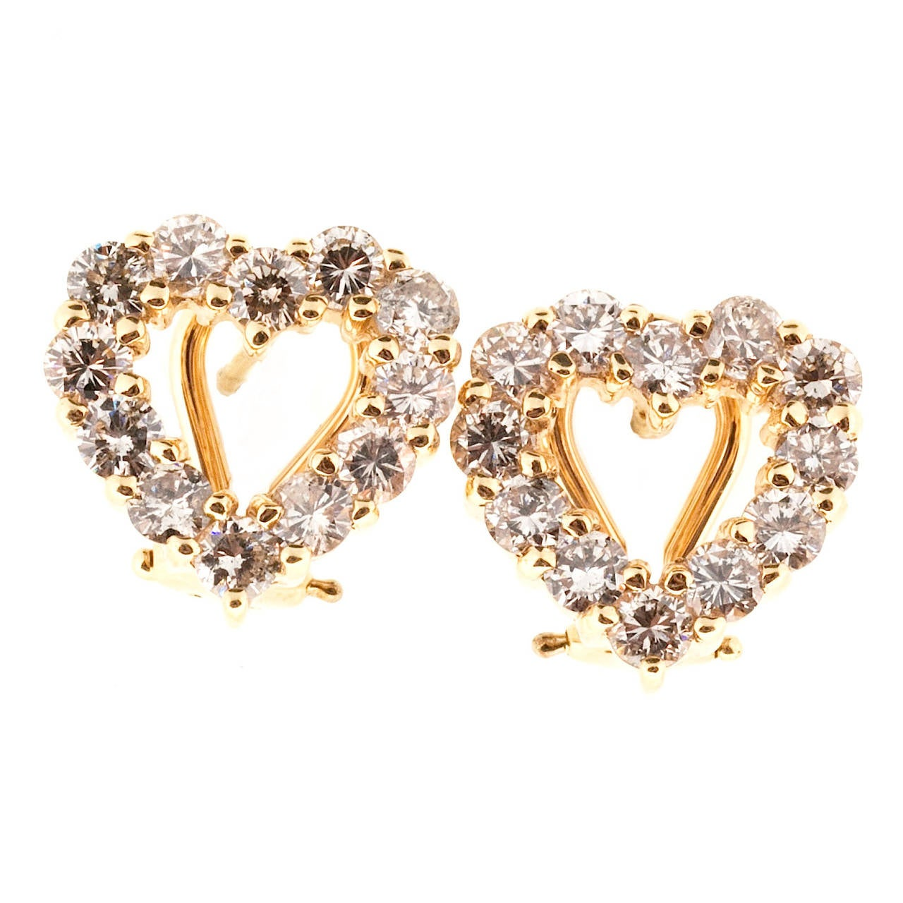 Diamond Gold Heart Shaped Earrings