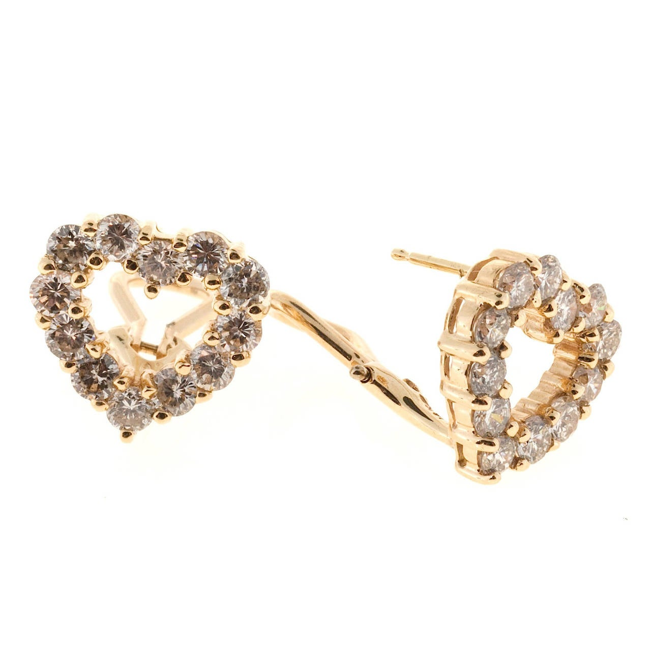 Beautiful well-made common prong style heart design clip post earrings. Very bright sparkly diamonds.  24 round diamonds approx. total weight 2.40cts, G, SI 14k Yellow Gold 4.2 grams ½ x ½ inch