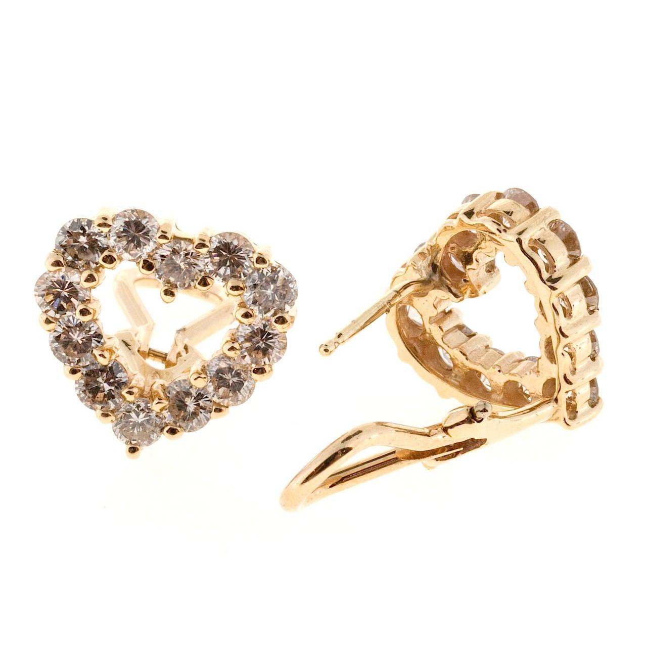 Women's Diamond Gold Heart Shaped Earrings For Sale