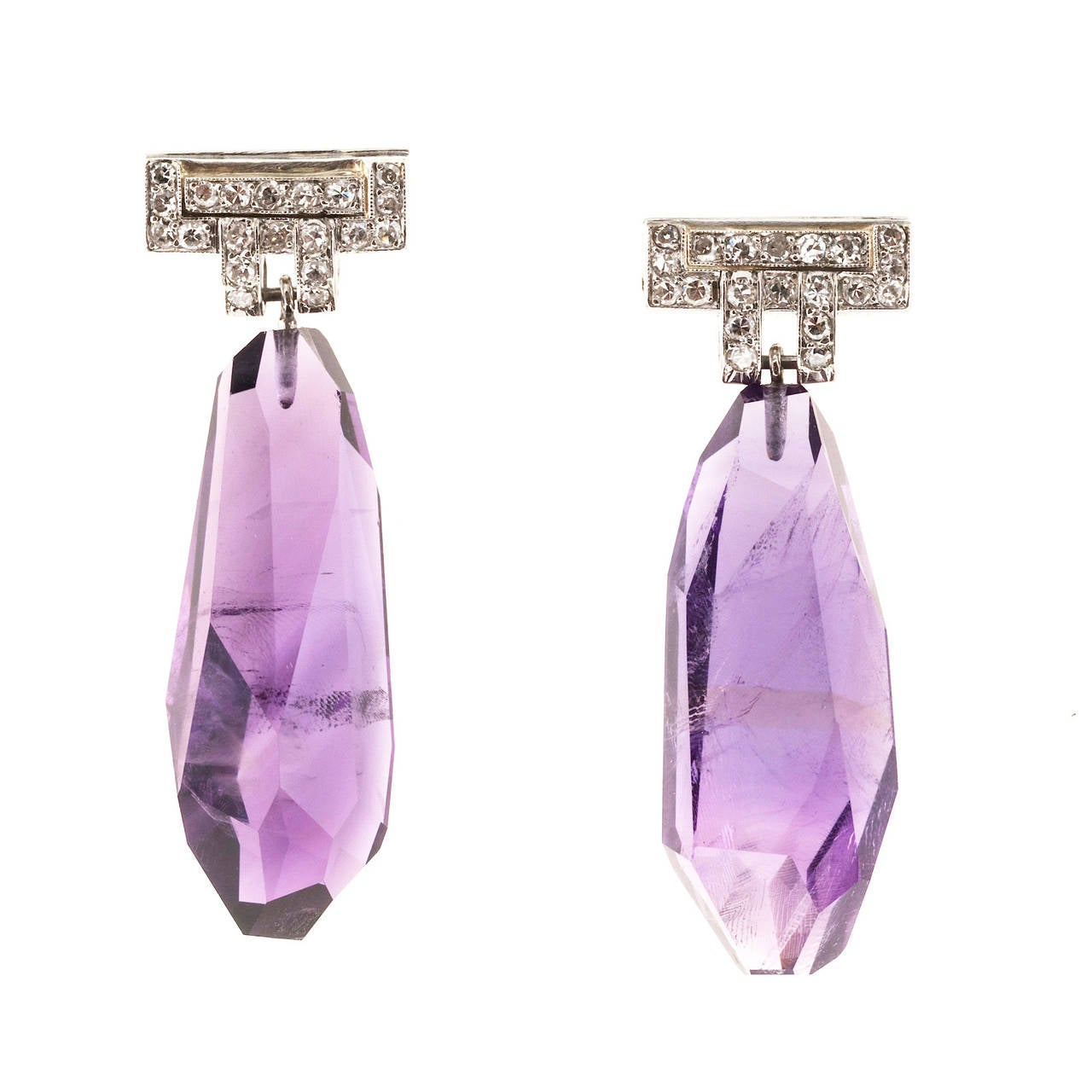 Natural Amethyst Diamond Dangle Earrings
