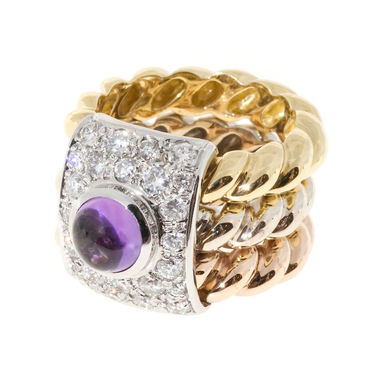 Amethyst Cabochon Diamond Three Color Gold Cocktail Ring