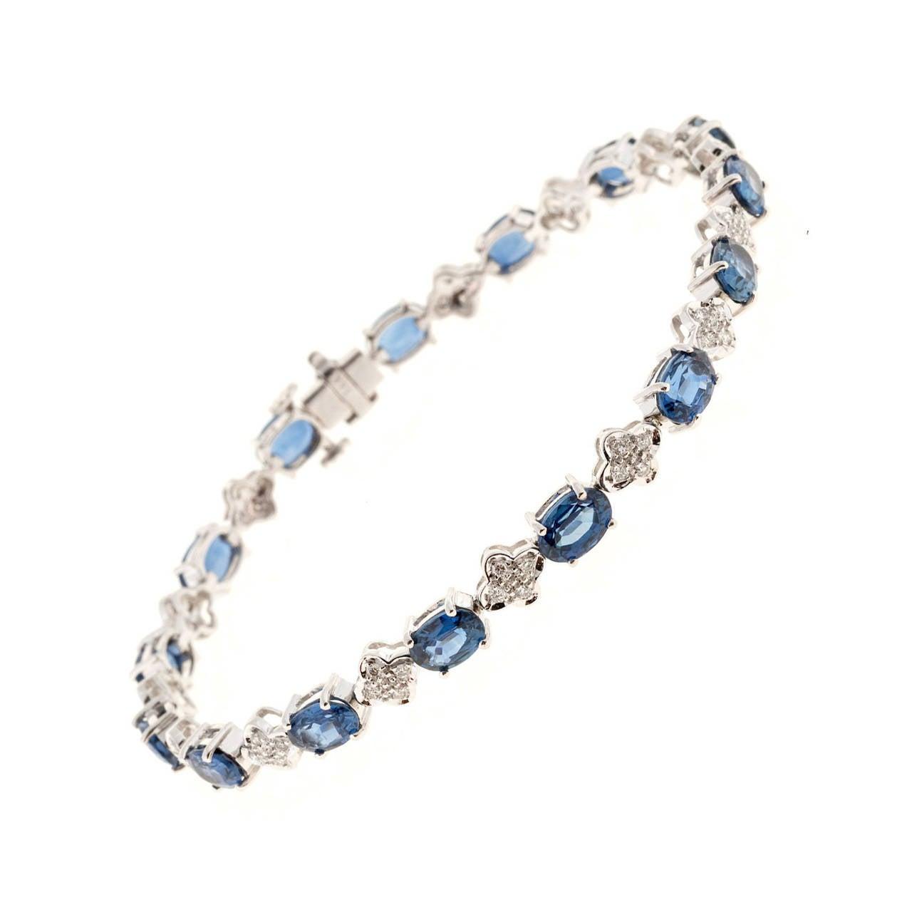 Oval Sapphire Diamond Gold Link Bracelet