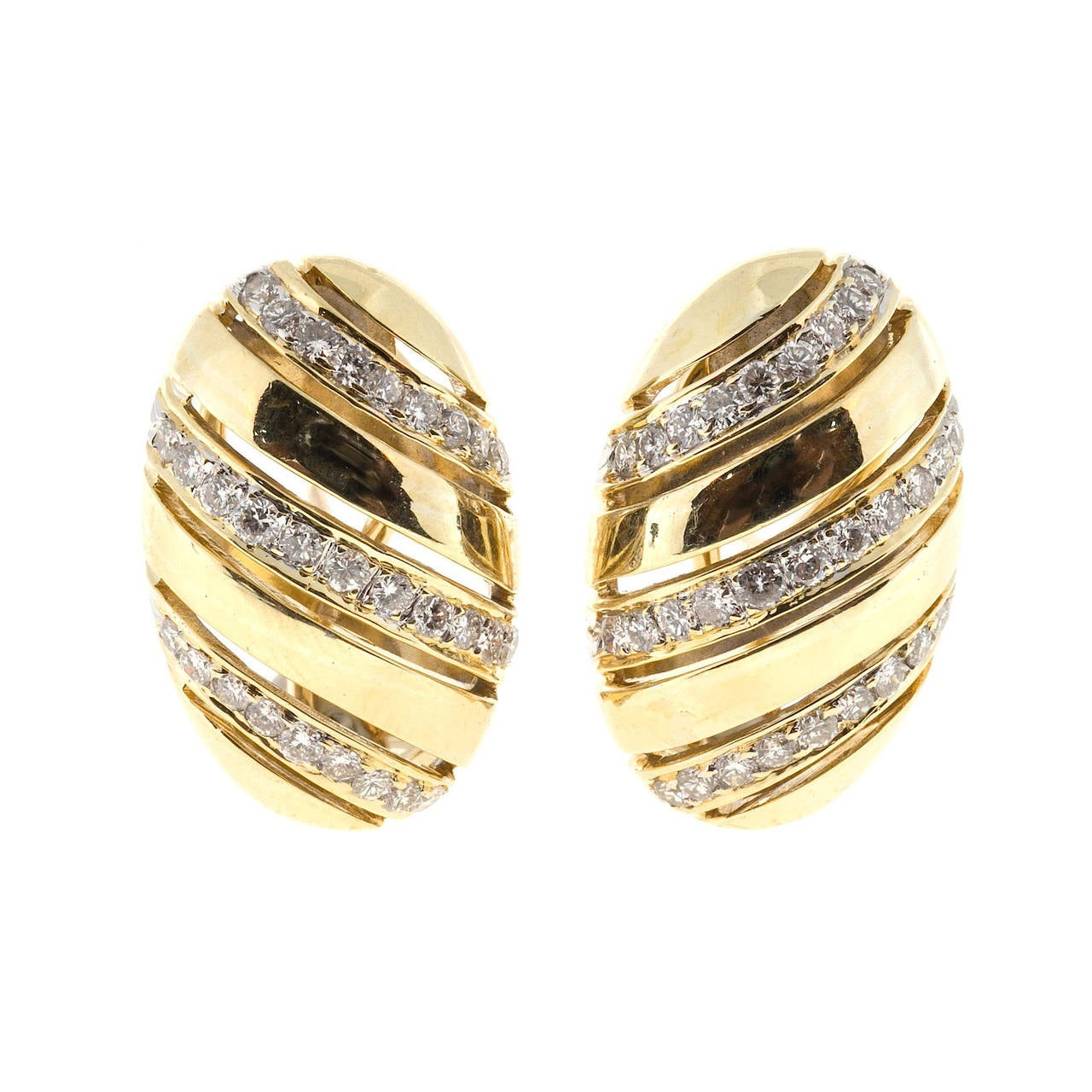 Pierced Oval Diamond Gold Clip Post Dome Earrings For Sale