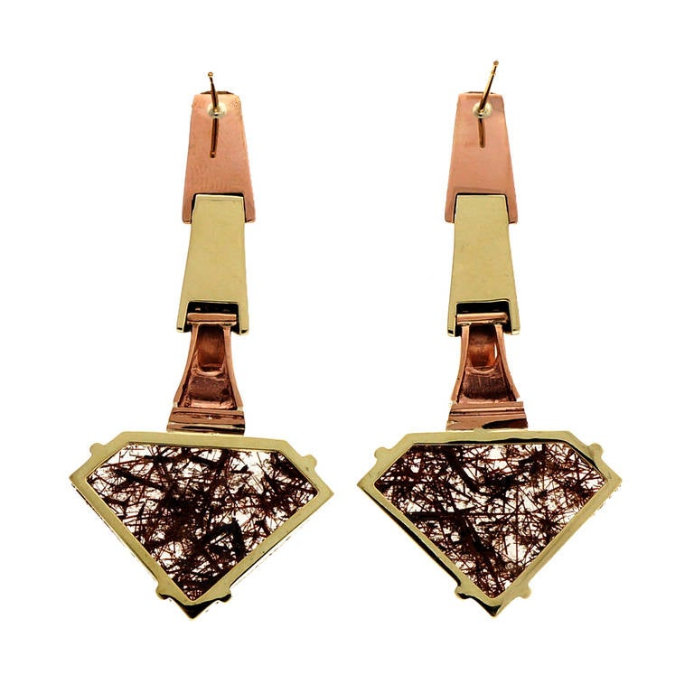 Peter Suchy Quartz Ruby Pink and Green Gold Dangle Earrings 3