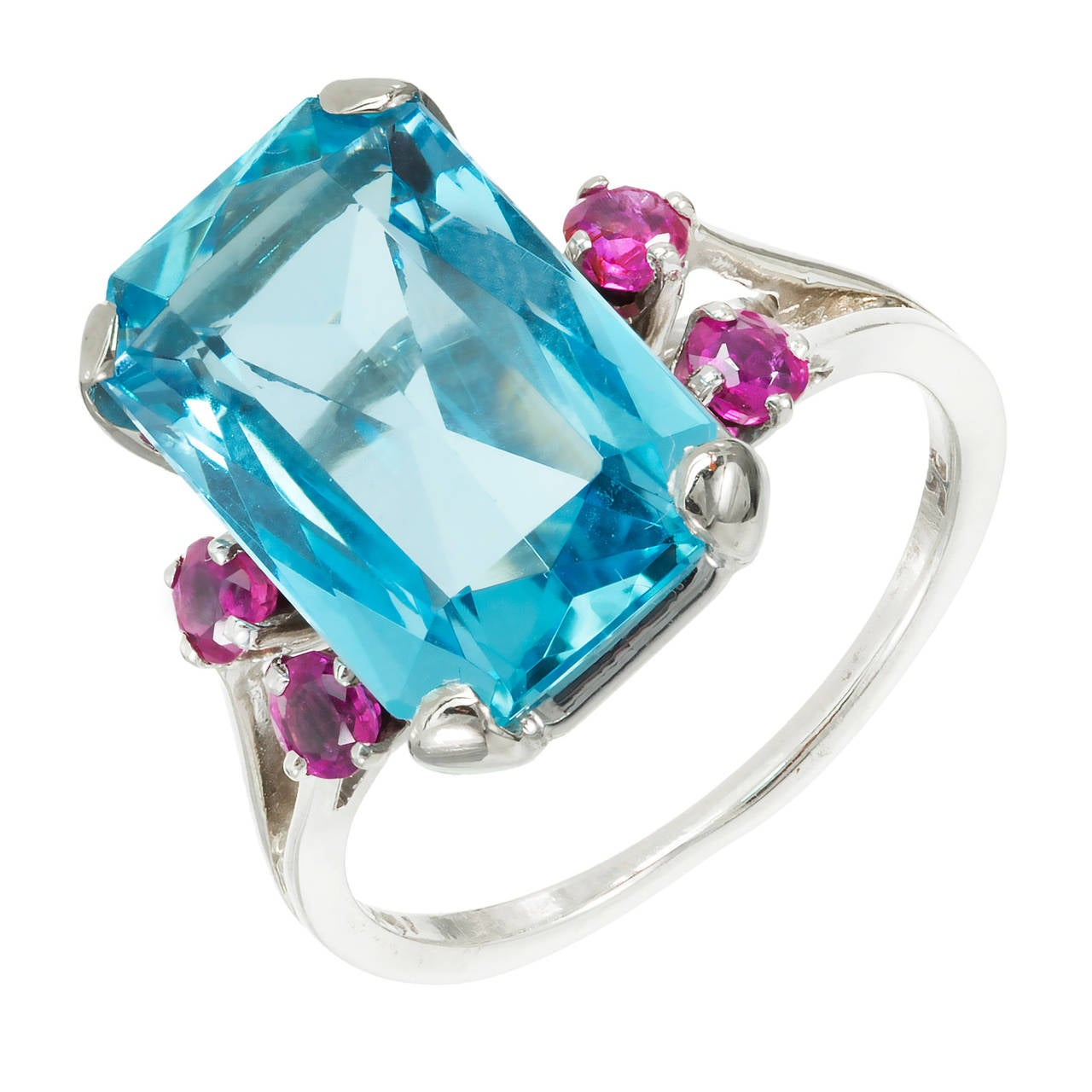 Aquamarine Ruby Gold Cocktail Ring For Sale