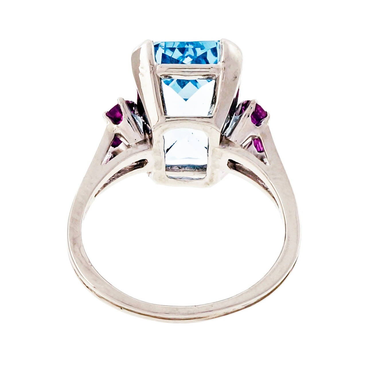 Women's Aquamarine Ruby Gold Cocktail Ring For Sale