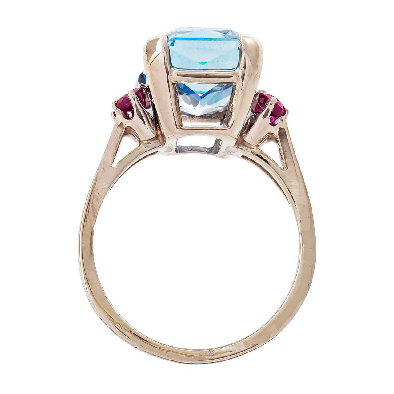 Emerald Cut Aquamarine Ruby Gold Cocktail Ring For Sale