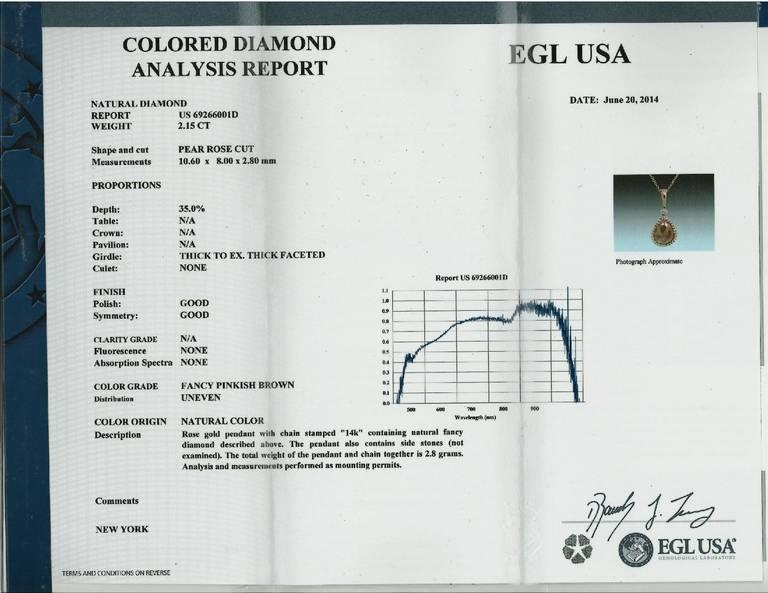 EGL Certified 2.15 Carat Natural Pink Brown Diamond Slice Gold Pendant Necklace For Sale 1