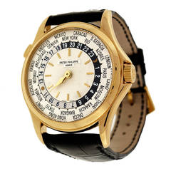 Patek Philippe Yellow Gold World Time automatic Wristwatch Ref 5110J