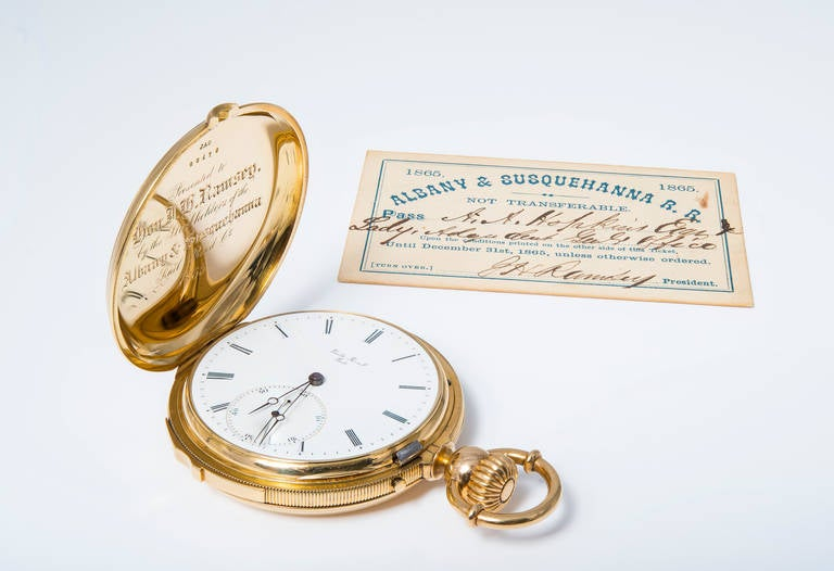 Emile Peret, Locle, Swiss, 1865, hunting case. Minute repeating pocket watch with porcelain dial, movement number 16666, case number 20175, size 20 L, 10 independent bridges, mustache lever, 28 jewels, highly jeweled repeater.