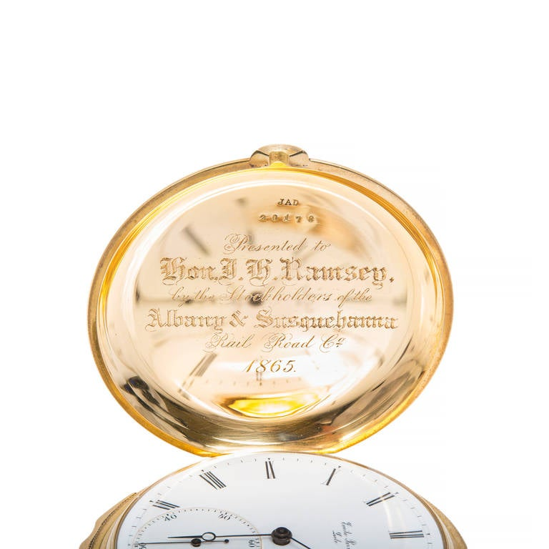 A & S Railroad Gold Minute Repeating Pocket Watch Presented to J.H. Ramsey, 1865 In Good Condition For Sale In Stamford, CT