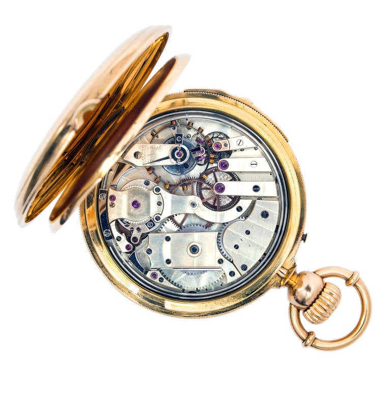 Men's A & S Railroad Gold Minute Repeating Pocket Watch Presented to J.H. Ramsey, 1865 For Sale