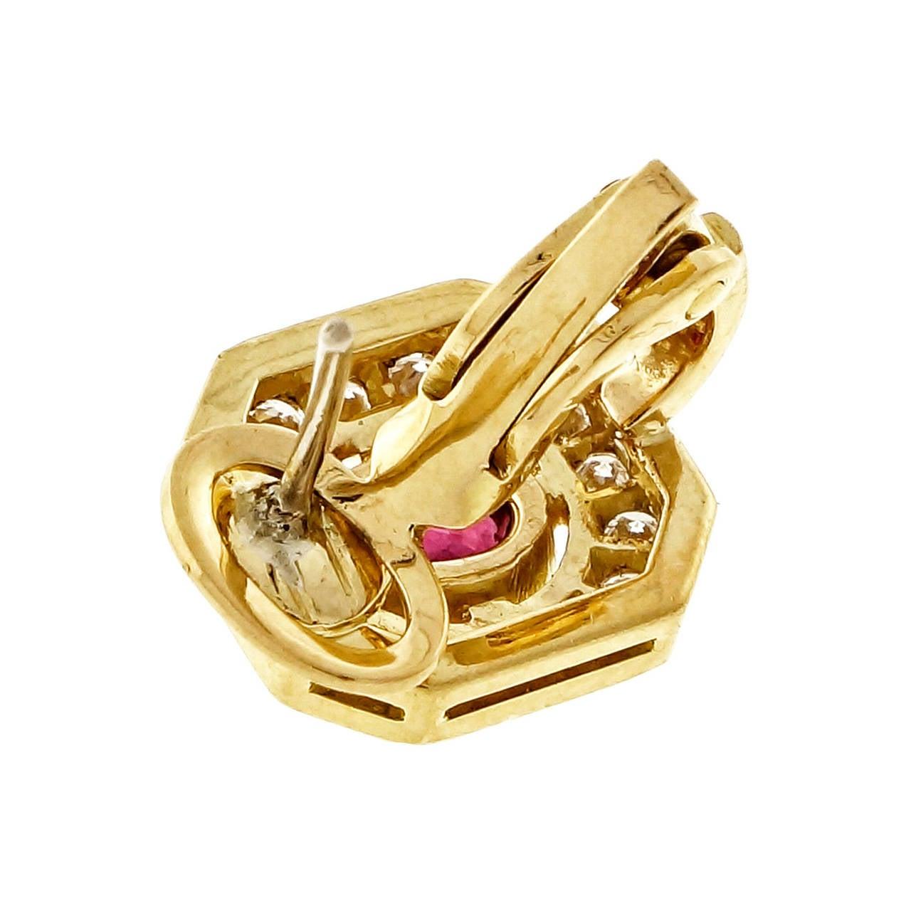 Women's Red Oval Ruby Diamond Gold Earrings For Sale