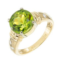 3.90 Carat Peridot Diamond Gold Platinum Engagement Ring