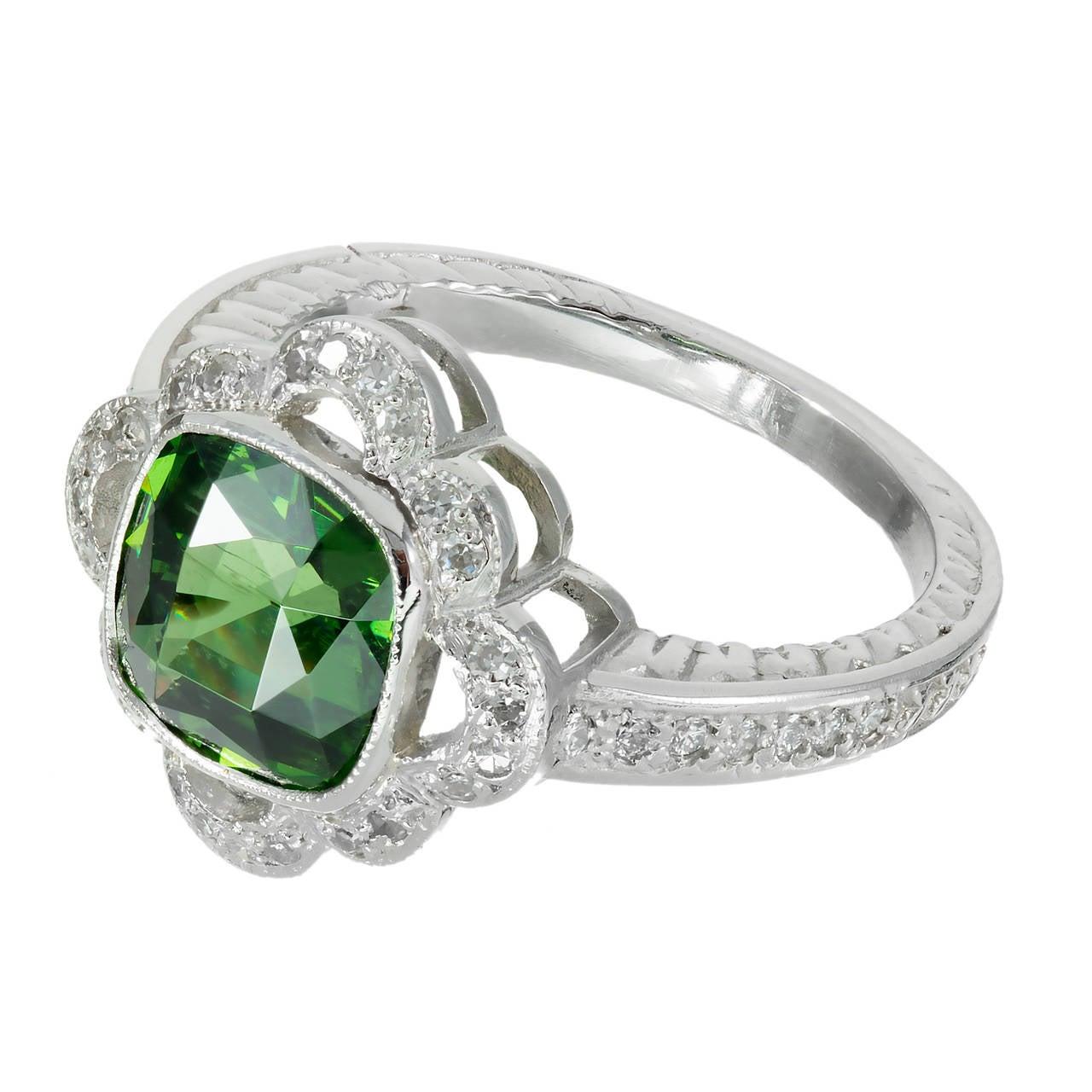 Green Zircon Diamond Platinum Engagement Ring