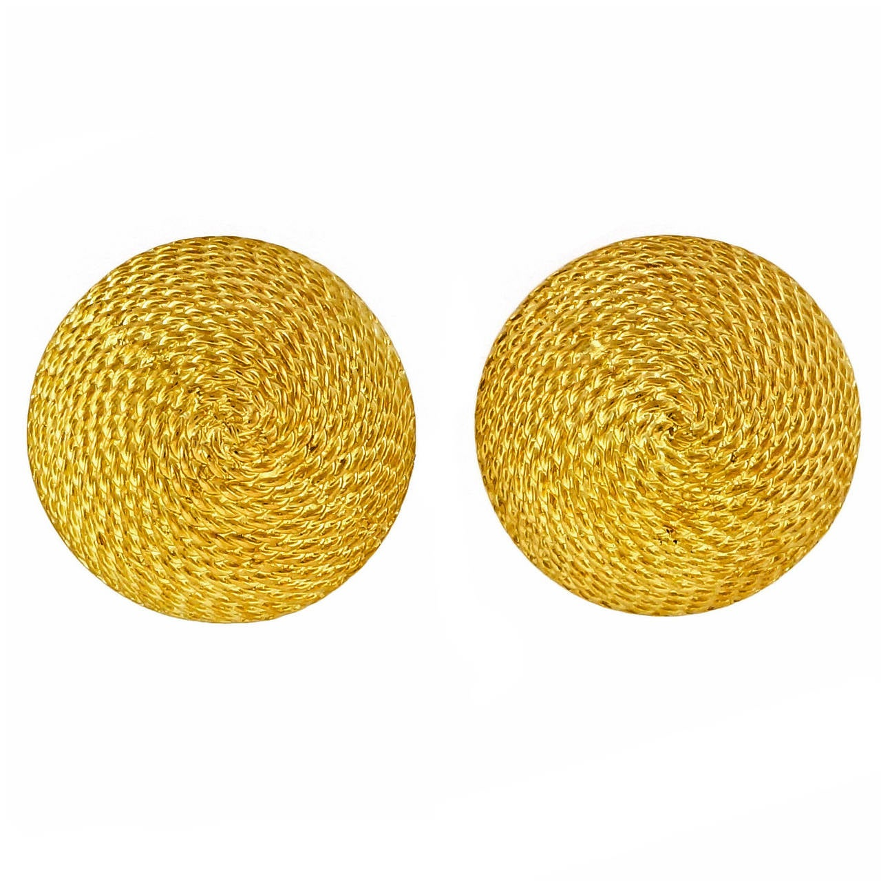 Textured Gold Domed Button Style Earrings For Sale