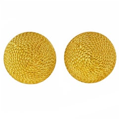 Textured Yellow Gold Domed Button Style Earrings