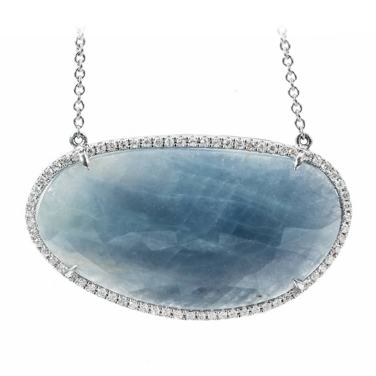 Natural Sapphire Diamond Gold Pendant Necklace
