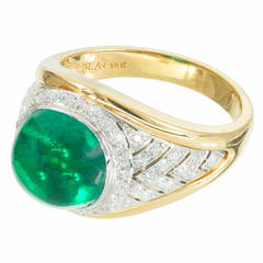 Colombian 5.15 Carat Emerald Diamond Gold Platinum Ring, GIA Certified