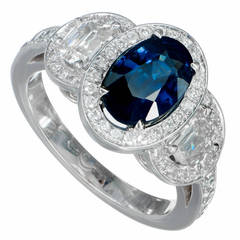Peter Suchy Blue Sapphire Diamond Triple Halo Gold Engagement Ring