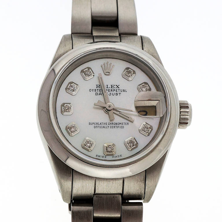 Rolex Lady's Steel Datejust Oyster Band Wristwatch Ref 69173 3