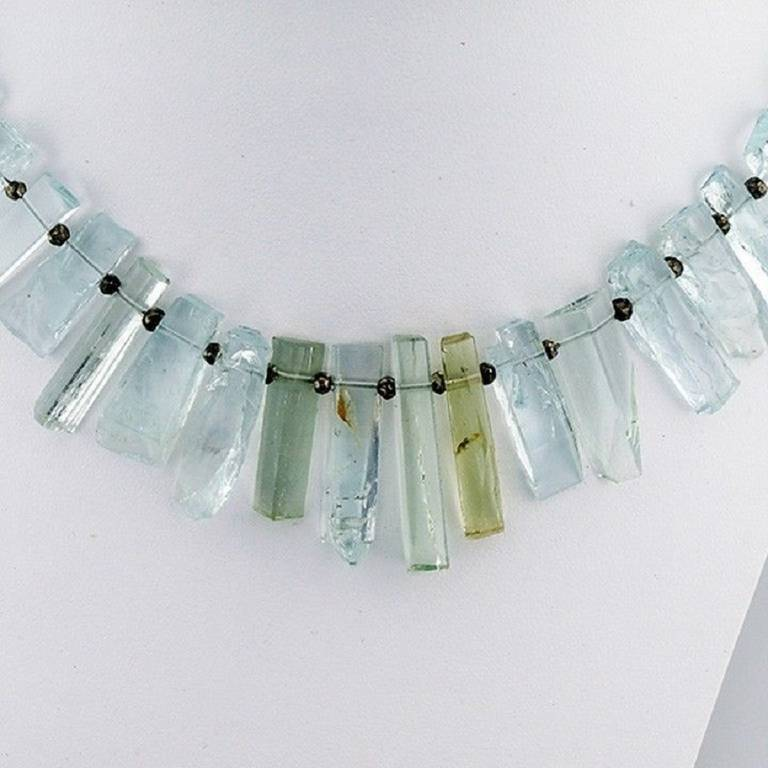Peter Suchy Natural Untreated Aqua Crystal Iron Pyrite Necklace 2