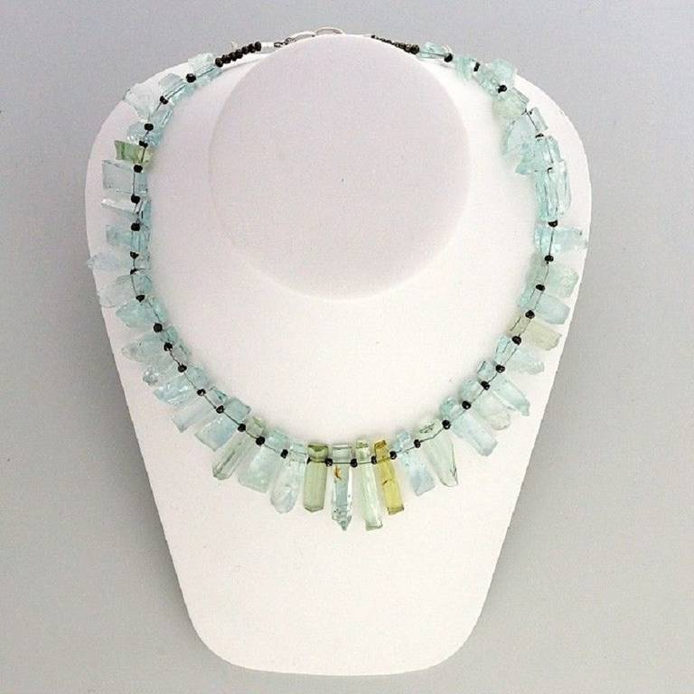 Peter Suchy Natural Untreated Aqua Crystal Iron Pyrite Necklace 4