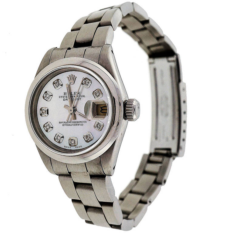 Rolex Lady's Steel Datejust Oyster Band Wristwatch Ref 69173 1