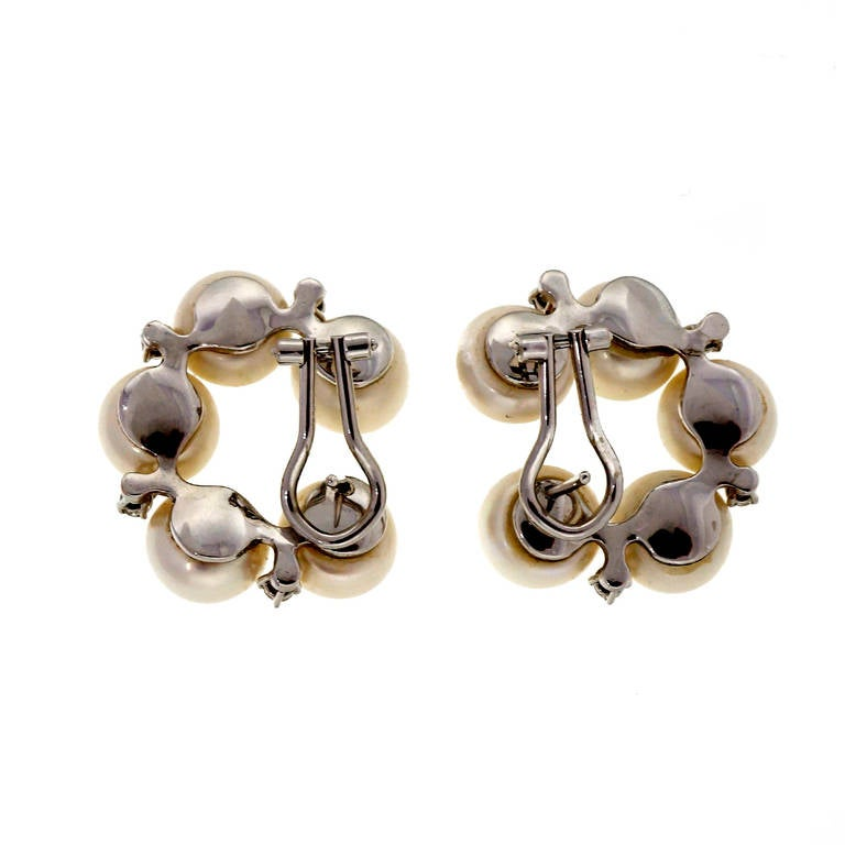 Modern Freshwater Pearl Diamond White Gold Clip Post Earrings For Sale