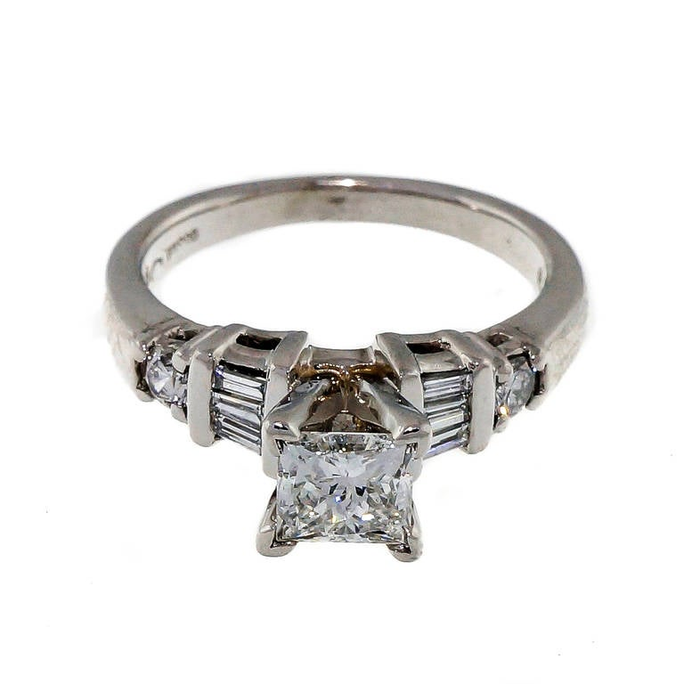 princess cut platinum engagement ring at 1stdibs