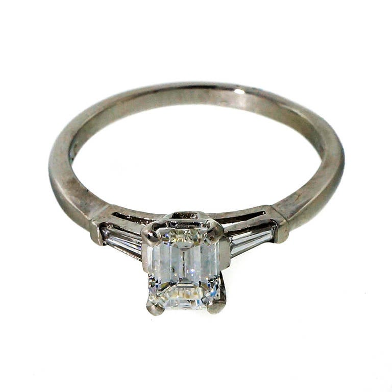 Art Deco Emerald Step Cut Diamond Platinum Engagement Ring at 1stdibs